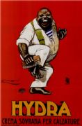 Vintage shoe polish advertisement poster, hydra crema sovrana per calzature